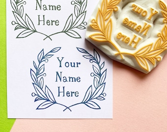 custom botanical logo rubber stamp | custom name stamp | hand carved stamp by talktothesun | business packaging | personalized gift