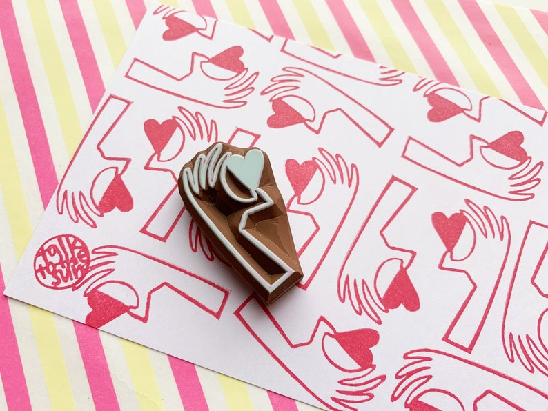 hand rubber stamp  with love stamp  gift for you hand carved image 0