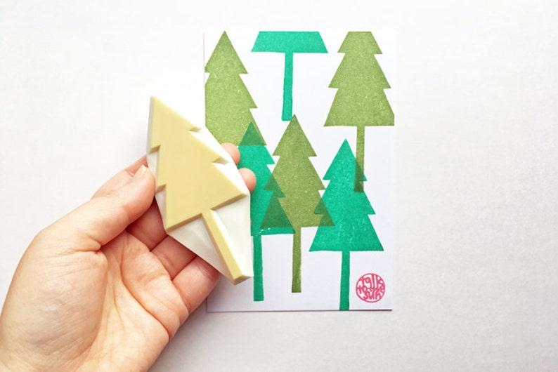 large cedar tree stamp  tree rubber stamp  botanical plant image 0