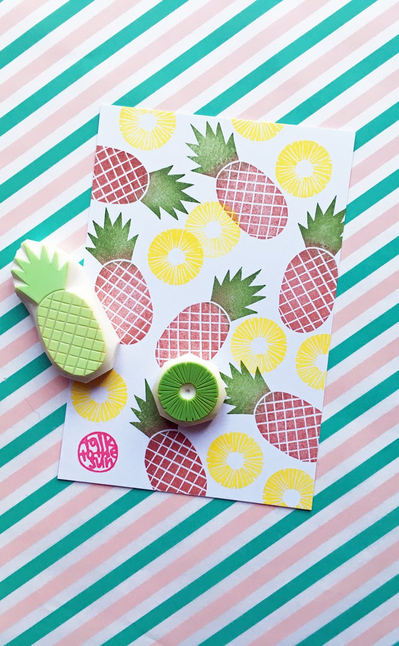 pineapple rubber stamps  pineapple slice stamp  tropical image 0