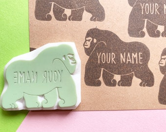 custom gorilla rubber stamp | custom name stamp | custom logo stamp | hand carved stamp by talktothesun | personalized gift for boys