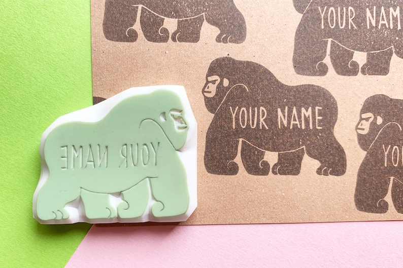 custom gorilla stamp with personalized name  pre-made logo image 0
