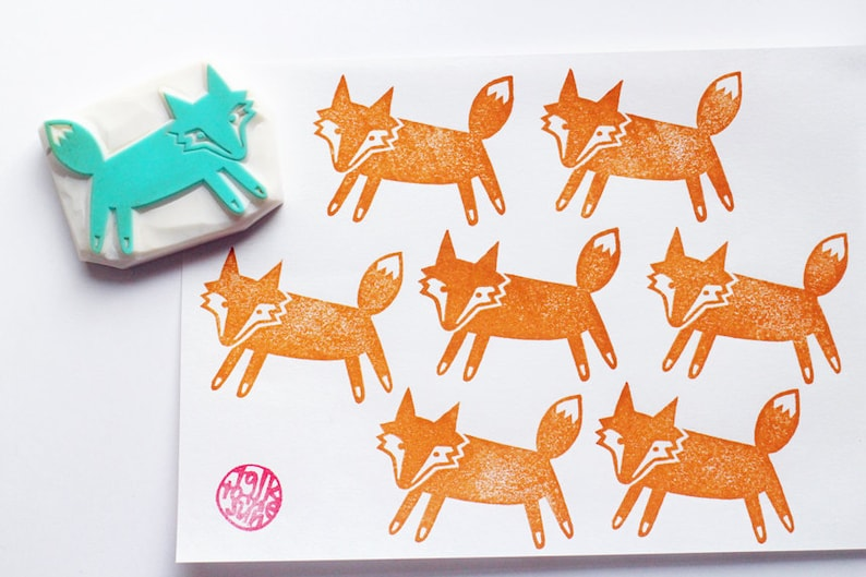 fox rubber stamp  woodland animal stamp  hand carved stamp image 0