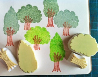 tree rubber stamps   woodland stamp   forest stamp   hand carved stamps by talktothesun   stamps for card making, art journal, autumn crafts