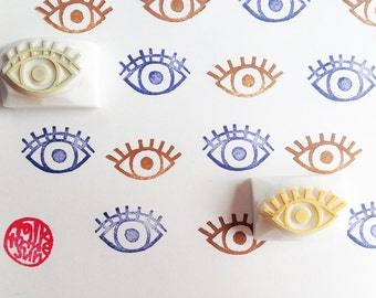 eye rubber stamps | face stamp | hand carved stamps by talktothesun | stamps for scrapbooking, journaling, junk journal | quirky gifts
