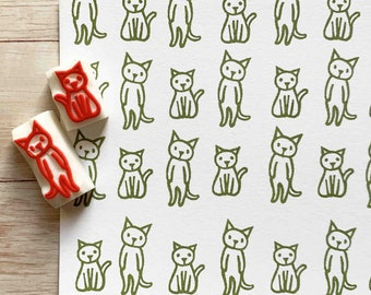 cat rubber stamp set   animal stamp   hand carved stamps by talktothesun   stamps for card making, journaling, planner   cat lady gift