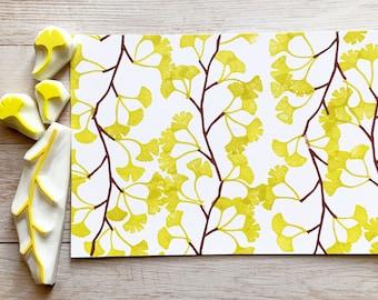 ginkgo tree rubber stamp set | hand carved stamps | tree branch & leaf | stamps for card making junk journal autumn crafts