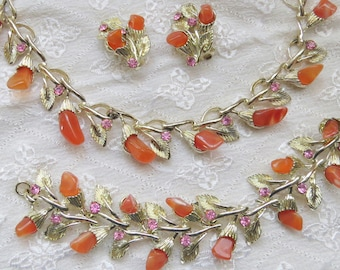 Vintage Carnelian Suite Matching Necklace, Bracelet, Clip On Earrings, Orange Agate Stones, Pink Rhinestone Jewelry Set, Gold Tone Settings