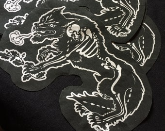 Werewolf Of The Woods patch -sew or glue on - wolf goth skeleton unique metal art for vest jacket hoodie