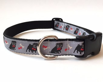 Dog Collar - Designer Dog Collar - Adjustable Male Dog Collar - Pug Dog