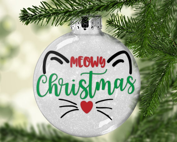 image 0 - Cat Ornament Personalized Glitter Christmas Ornament Pet Etsy