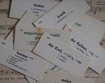35 Vintage Language Flashcards - German, English, Latin, French, Japanese Spanish -n- Russian