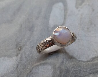 Faceted Moonstone Sterling Silver Ring
