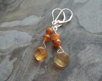 Shaded Hessonite Garnet Leverback Earrings