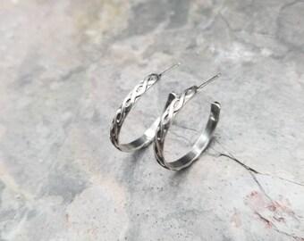 Sterling Silver Twist Pattern Hoop Earrings