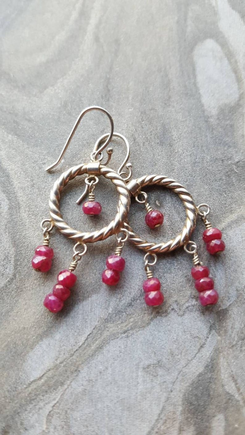 Ruby and Sterling Silver Chandelier Earrings image 0
