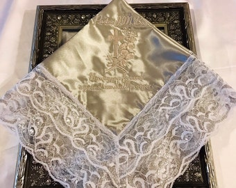 Personalized Lace Handkerchief First Lady Embroidered Church Handkerchief Hankie