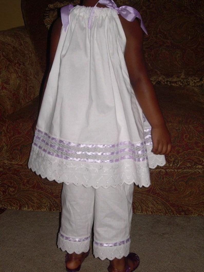 Clearance Sample Sale Ready to Ship Flower Girl Pillowcase Dress Capri Pants Wedding Heirloom White Beach Photo Lavender Size 24mo 2t 3t