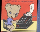 Vintage POP UP TEDDY BEAR ADDING MACHINE BIRTHDAY Greeting CARD UNUSED
