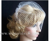 """IVORY   birdcagecage net veil 12"""" goes til the pick of the nose. with swarovski crystals on the edge."""