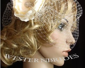 IVORY birdcage made with russian net  wedding veil with CRYSTAL ROSE and  fascinator