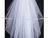 RHINESTONE on the EDGE Brand New  2 tier Classic style veil . fingertip  lenght with silver comb ready to wear