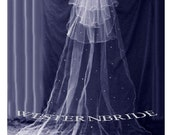 Silver edge CATHEDRAL VEIL  with Rhinestone Crystals  3 tier fingertip veil.  white or ivory or off white choice of color