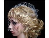 White full Bridal Weding veil Rusian Net Birdcage Veil with  Crystal Edge