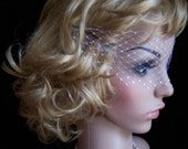 White  Venetian Style Net Face Veil With 3 Row Swarovski Crystals