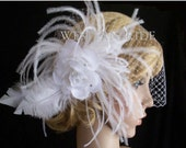 Princess BRIDE Bridal weddding birdgage veil with gorgeous fascinator on metal comb ready to wear