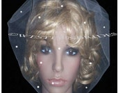 SEE ME THROUGH the Pearls Ivory  or white wedding bridal tulle blusher  with pearls.