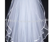 2 tier Elegant Wedding Bridal veil. White or Ivory , your choice. elbow lenght with silver comb ready to wear