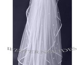 OFF WHITE CLASSIC 2 tier Elegant Wedding Bridal veil. White or Ivory ,pearl scattered on both tiers
