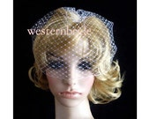 On Sale Pick of nose White OR Ivory Bridal Weding Rusian Net Birdcage Veil