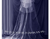 CATHEDRAL VEIL  with 3 tier fingertip veil. dettached satin edge white or ivory or off white choice of color