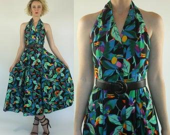 d98728d83de Vintage 80s does 50s Halter Toucan print Flared Safari Boho Green Full  skirt Midi dress XS S