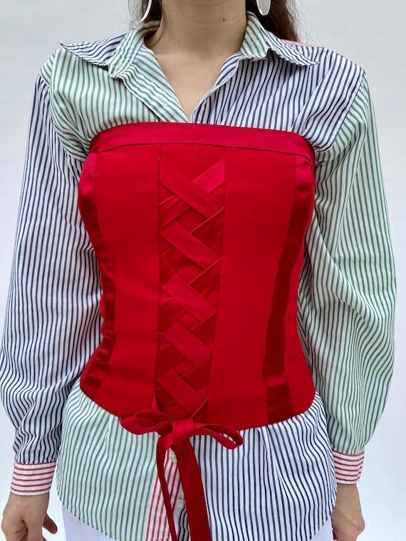 Vintage 90 Lace up Red Top Corset Bustier XXS XS - image 1