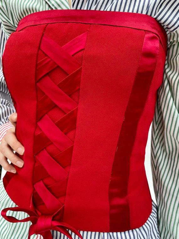 Vintage 90 Lace up Red Top Corset Bustier XXS XS - image 8