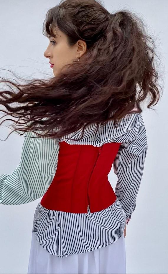 Vintage 90 Lace up Red Top Corset Bustier XXS XS - image 9