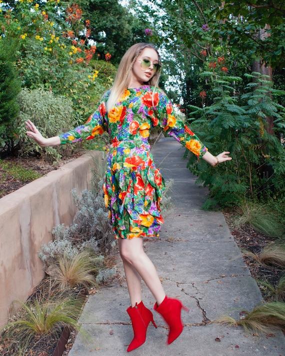Vintage 80s Silk Floral Ruffle Party Mini dress XS