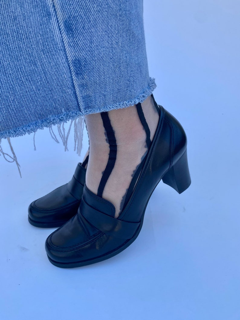 Vintage 90s Leather Black Loafers shoes size 7.5-8 Size 7 12-8