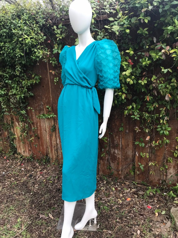 Vintage 80s Puff sleeve Party Teal Glam Maxi dress