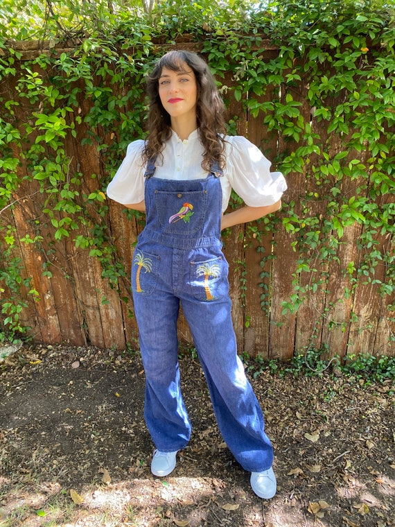Vintage 70s Denim Embroidered Boho Jumpsuit Overal