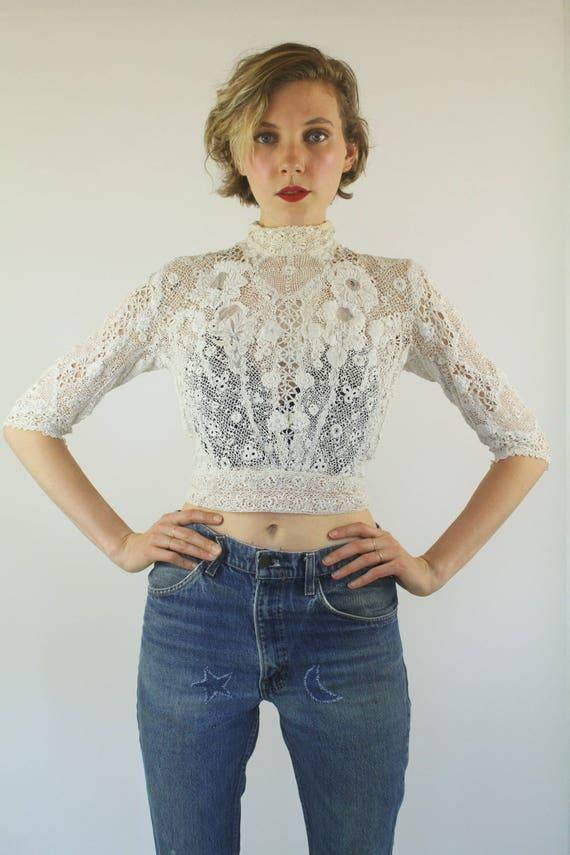ON SALE 1900s Edwardian Irish crochet Antique lac… - image 2