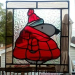 Puffy Coat Snoopy Stained Glass Suncatcher