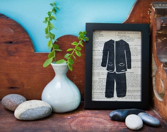 Pantsuit Print on Vintage Cookbook Page / Lino Print / Framed original print / Ready to hang art / Pantsuit print / wall art / pantsuit