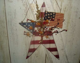 Americana Bead Board Star with Flag, Americana, Primitive, Rustic, Patriotic, Star, Door Hanger, Ofg, Faap, Hafair, Dub