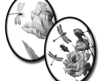 Dragonflies in Nature - 40mm x 30mm Ovals - (2) Digital collage sheets