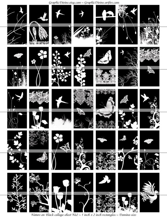 Nature On Black 1x2 Inch Rectangles 2 Digital Sheets Etsy