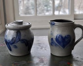 Vintage Hand Made Rowe Pottery Works Stoneware Vintage 1990s Mini Crock and Mini Jug Creamer and Sugar Wisconsin Art Pottery